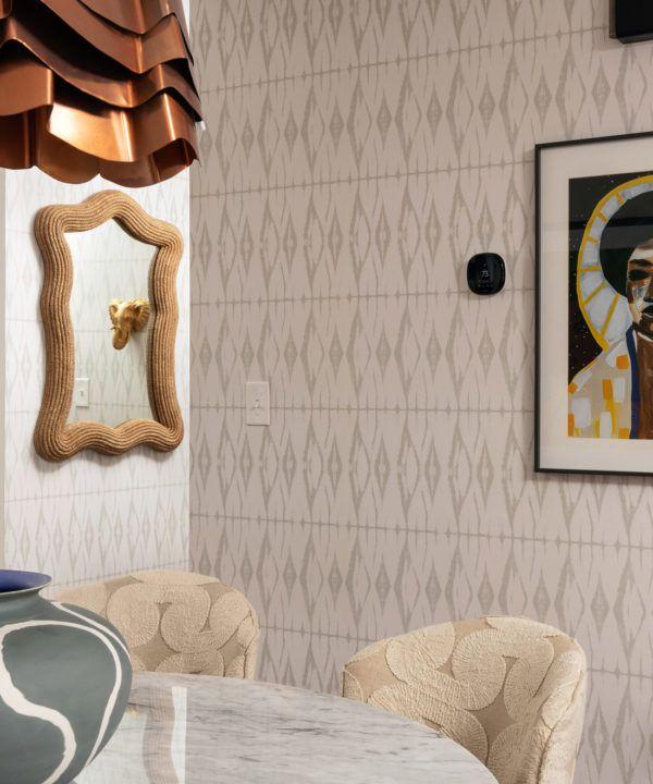 Shibori Diamonds wallpaper • Calm • Neutral Wallpaper • Beige Wallpaper •Geometric Wallpaper • Beth Diana Smith • Dining Room Wallpaper