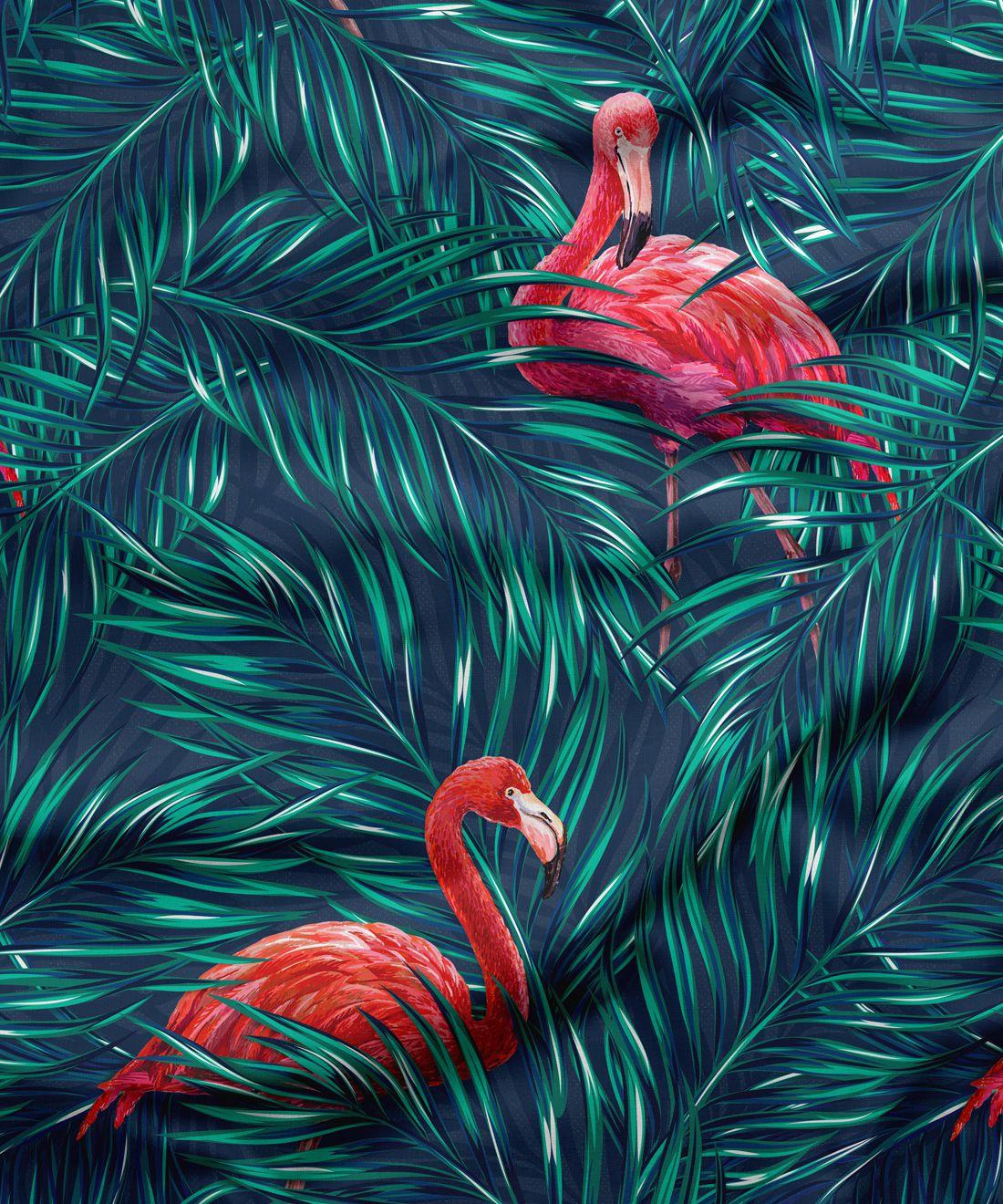 Tropical Flamingos Fabric