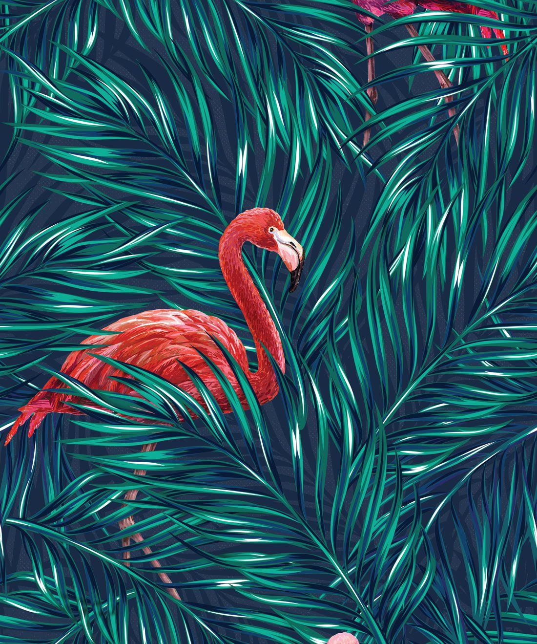 Tropical Flamingos Wallpaper
