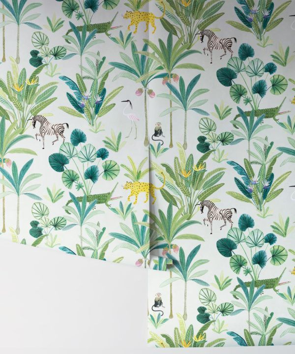 Jungle Wallpaper, Animal Kingdom Cream by Bethany Linz