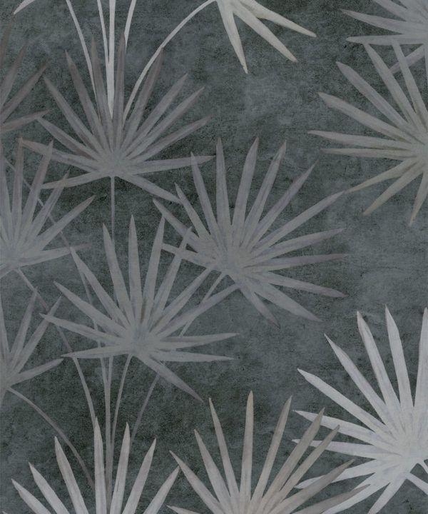 Oriental Palm leaf wallpaper Charcoal