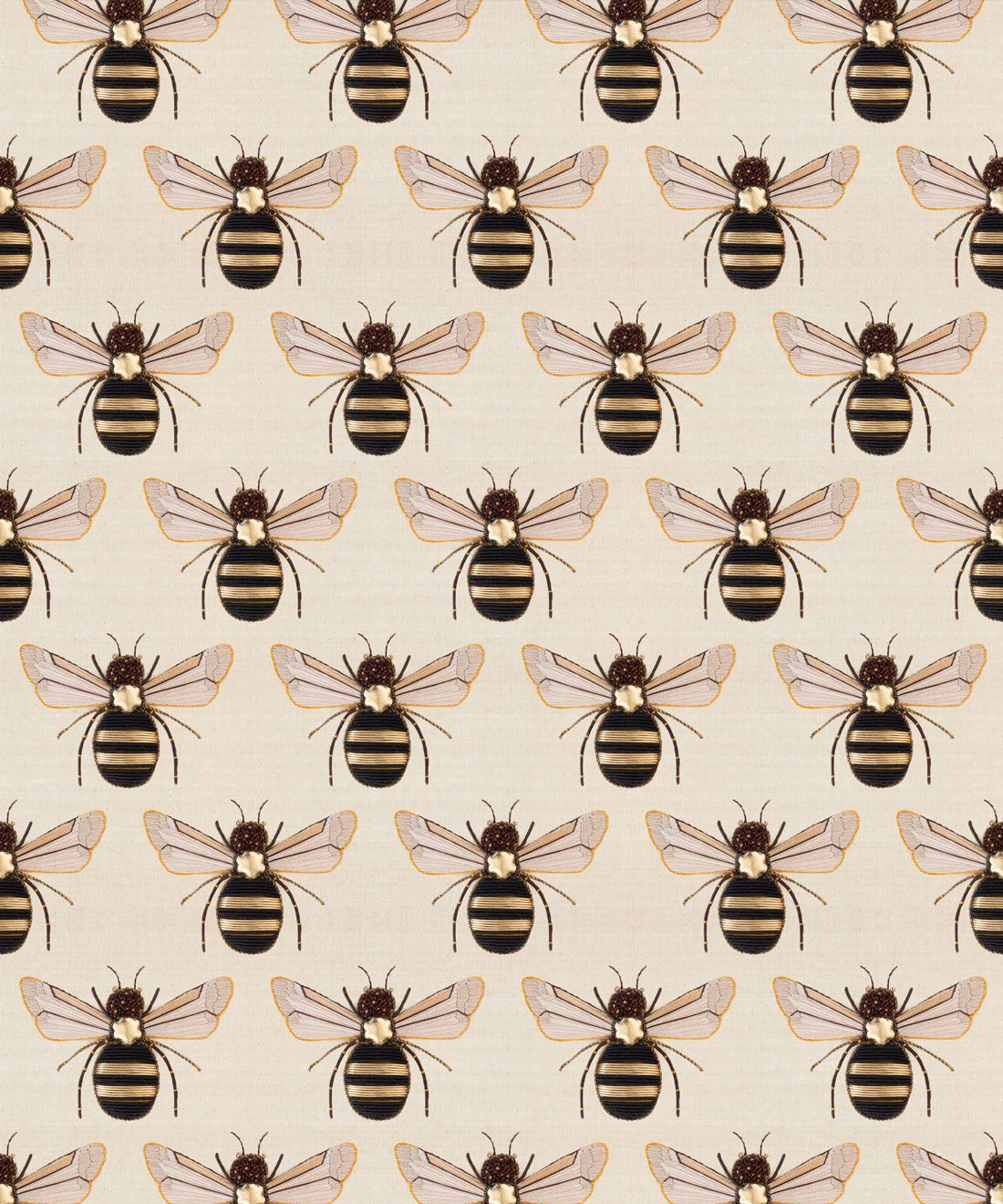 Golden Bee Embroidery Wallpaper