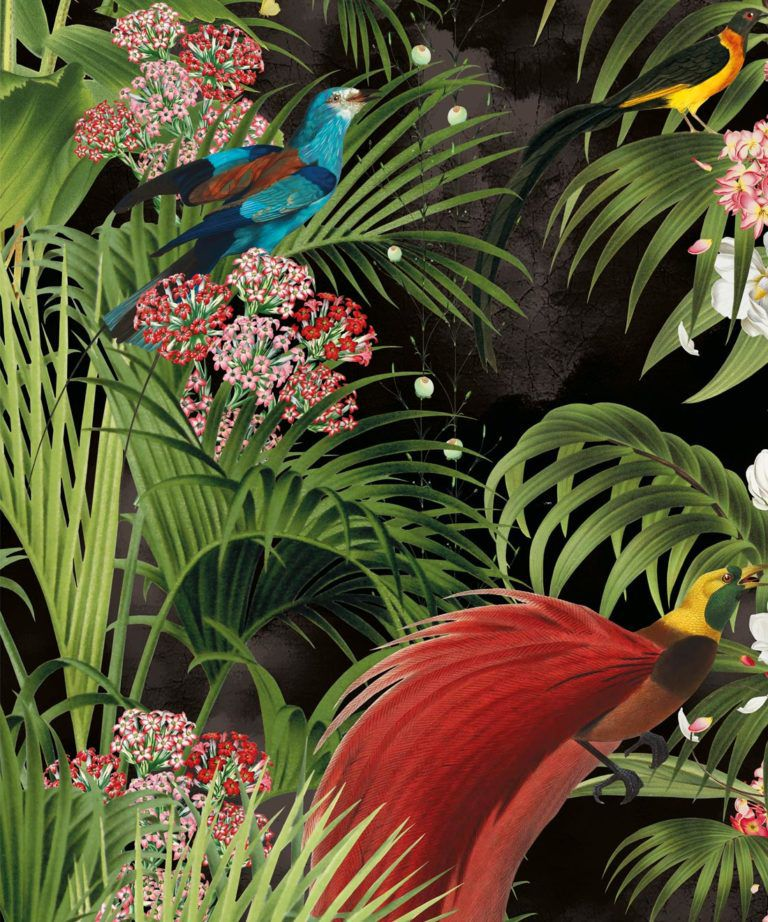 Paradiso Wallpaper with tropical palms and exotic birds