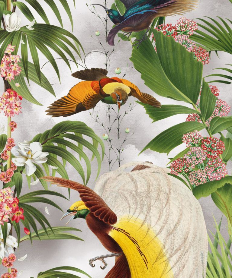 Paradise Wallpaper with tropical leaves and exotic birds