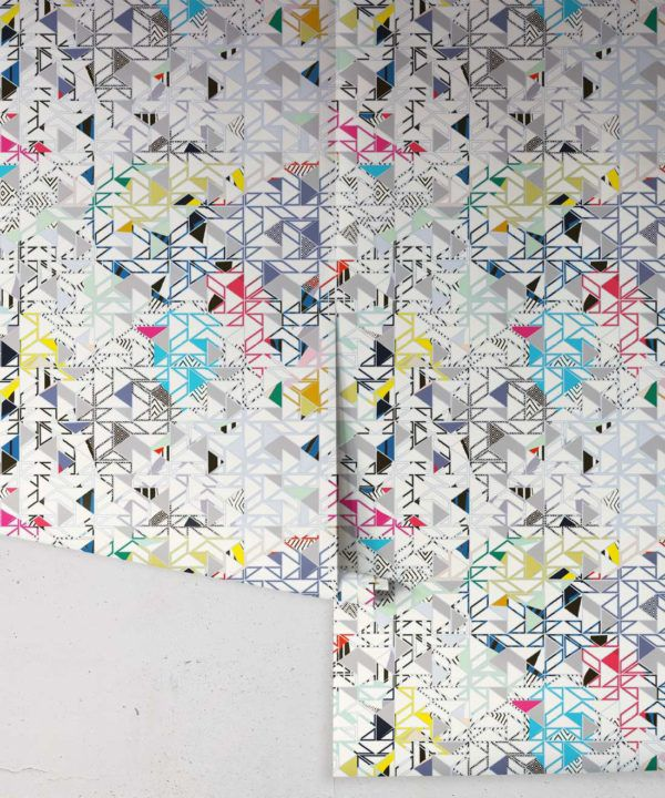 Bauhaus Wallpaper by Kitty McCall, geometric wallpaper with assorted colours