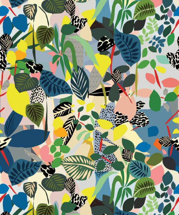 Hockney Wallpaper featuring colourful overlapping leaves
