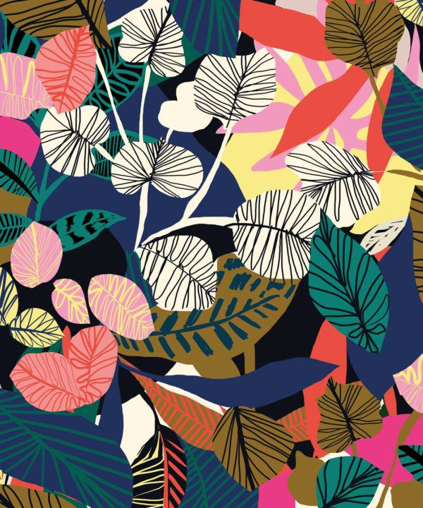 Overgrown Wallpaper by Kitty McCall colourful banana palms