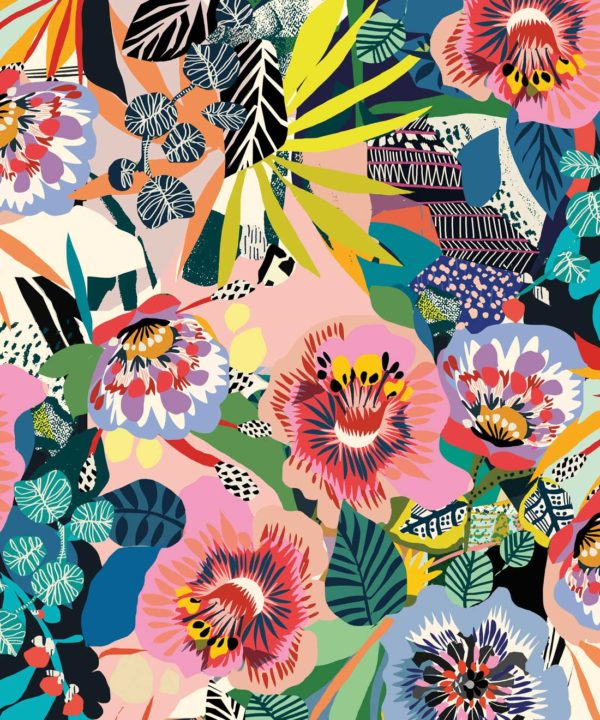 Summer Garden Wallpaper by Kitty McCall featuring assorted colours. Floral Wallpaper