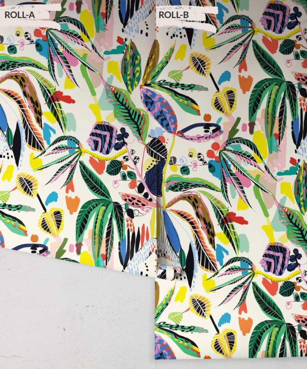 Wilderness Wallpaper by Kitty McCall, colourful tropical wallpaper