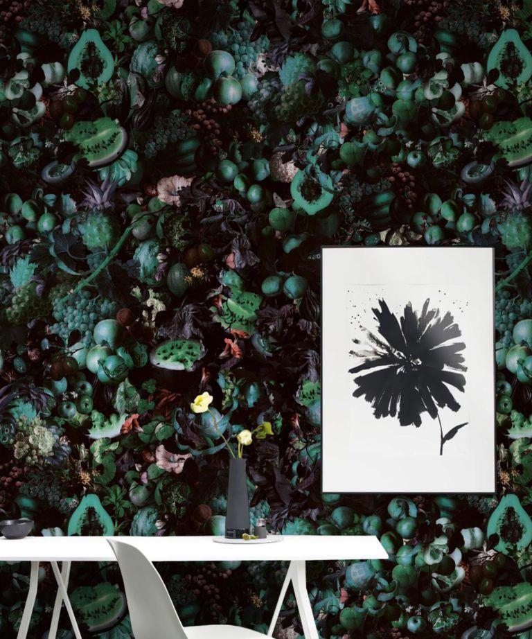 Fruitta Teal Wallpaper • Kitchen Wallpaper • Floral Wallpaper • Milton & King