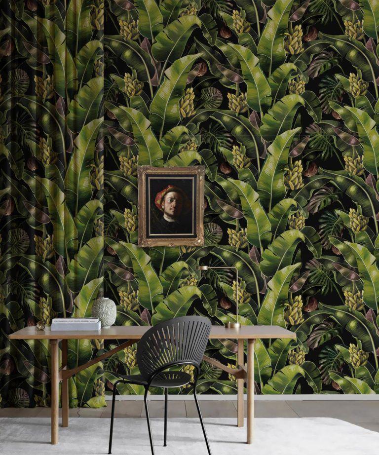 Kingdom Palm Night • Tropical Leaf Wallpaper • Milton & King