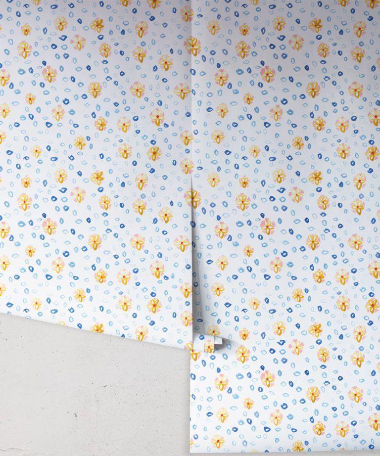 Al Hadiqa Wallpaper • Dainty Floral Design • Inky Flowery Pattern • Milton & King UK • Wallpaper Rolls • Free Shipping