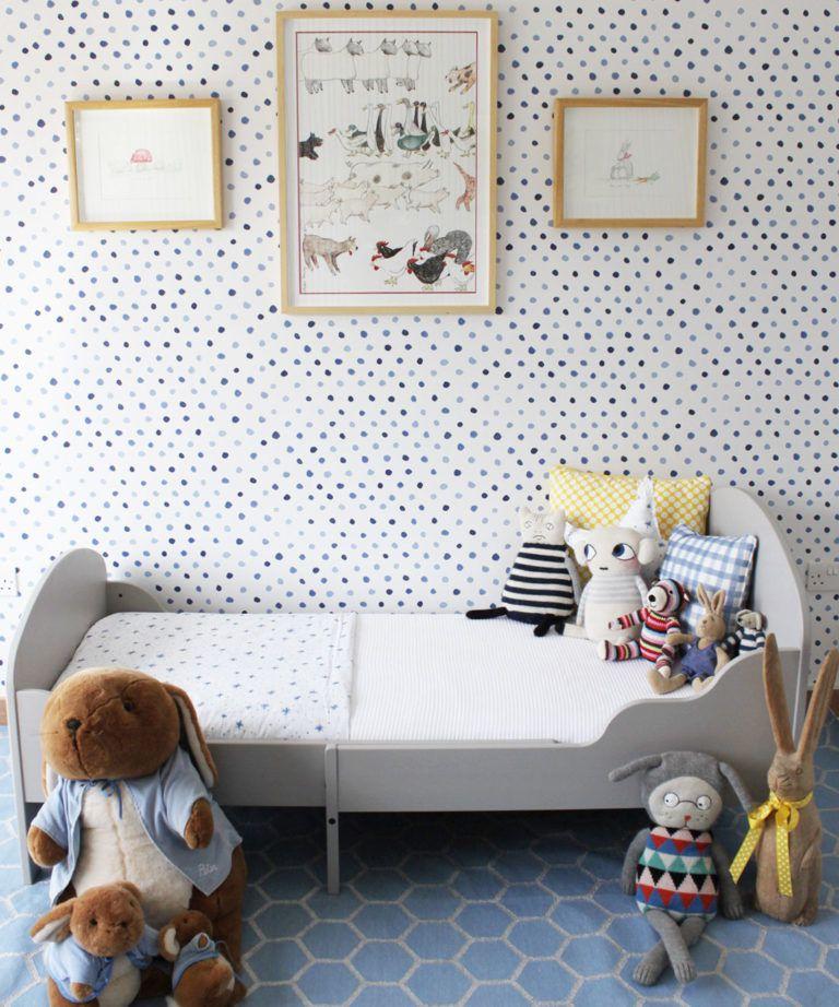 Dibba Dots • Georgia MacMillan • Blue Dotty Wallpaper • Milton & King UK