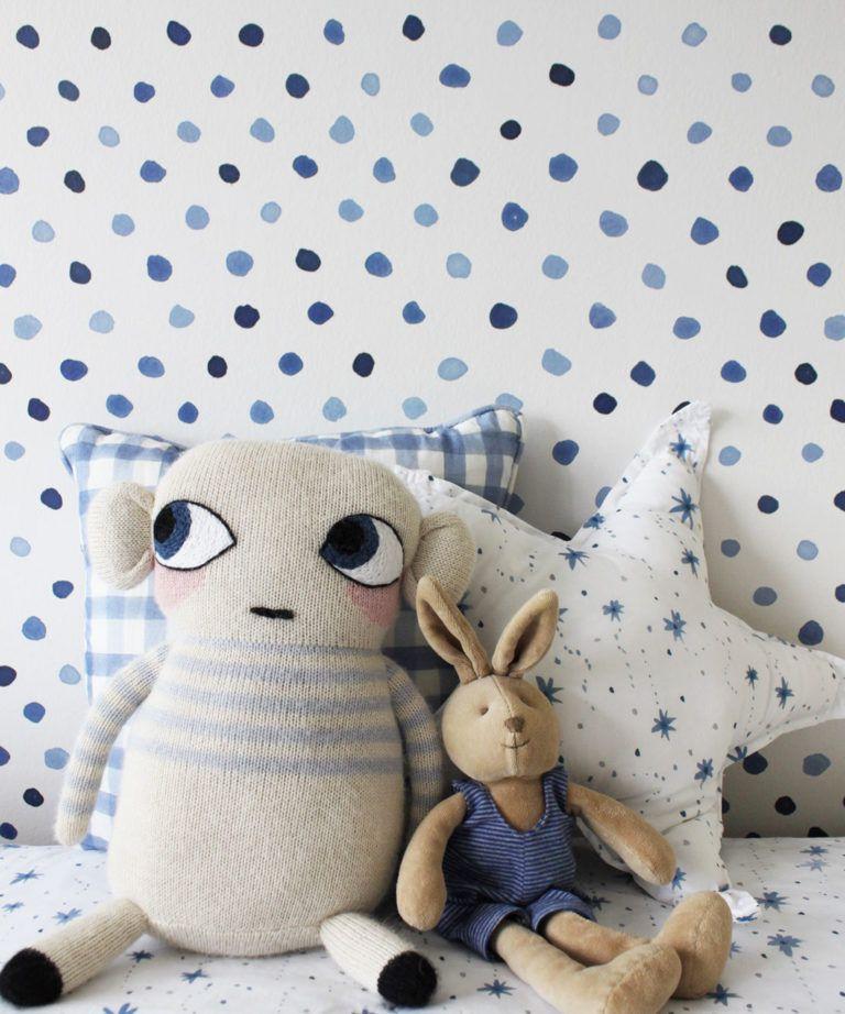 Dibba Dots • Georgia MacMillan • Blue Dotted Wallpaper • Milton & King UK