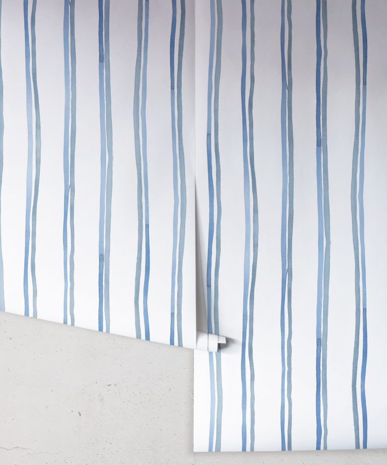 Double Inky Stripe • Striped Wallpaper • Blue Striped Wallpaper Rolls • Georgia MacMillan • Milton & King UK