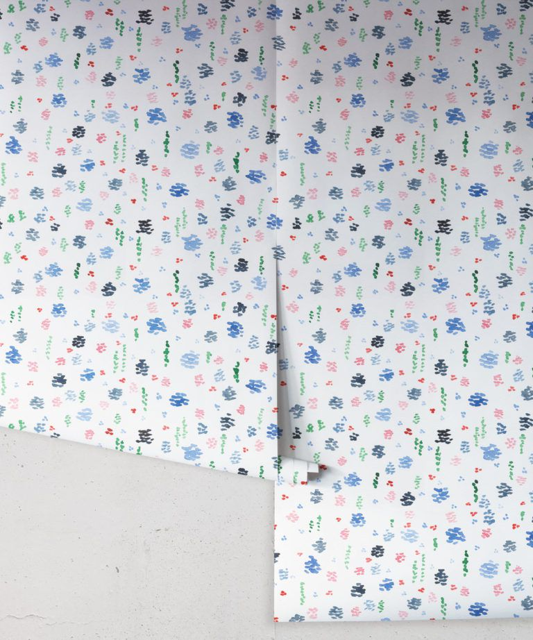 Spring Garden • Abstract Inky Floral Wallpaper • Georgia MacMillan • Kids Wallpaper • Nursery Wallpaper • Milton & King UK