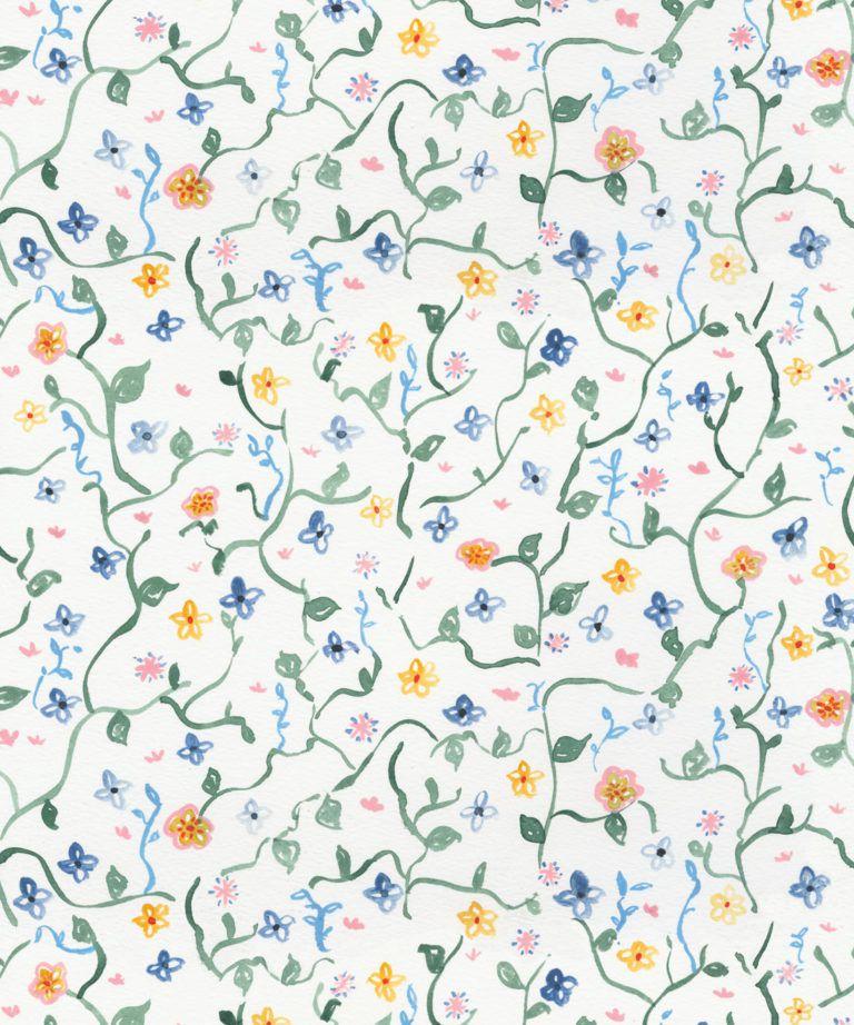 Wild Garden • Dainty Floral Wallpaper • Milton & King UK •Georgia MacMillan