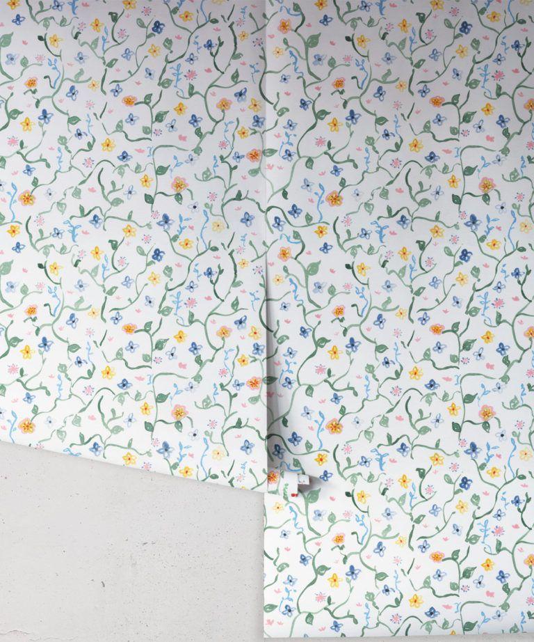 Wild Garden • Dainty Floral Wallpaper • Milton & King UK •Georgia MacMillan • Childrens Wallpaper • Nursery Wallpaper