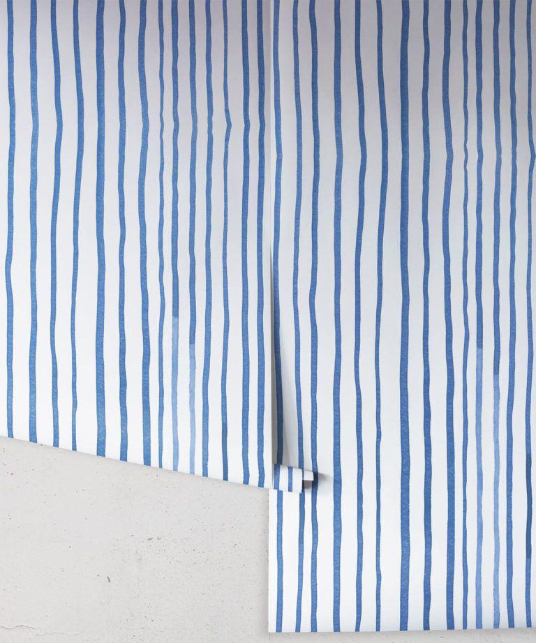 Zighy Stripes •Striped Wallpaper •Blue Stripes • Milton & King UK • Georgia MacMillan •Wallpaper Rolls
