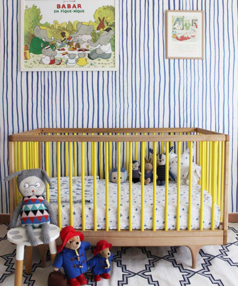 Zighy Stripes •Striped Wallpaper •Blue Stripes • Milton & King UK • Georgia MacMillan • Nursery Decor • Crib