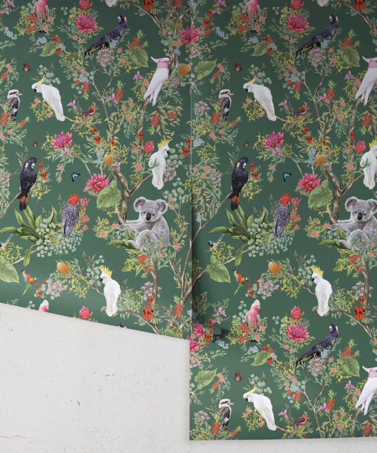 Australia Wallpaper • Cockatoos, Koalas, Parrots, Finches • Milton & King USA • Green Wallpaper Roll