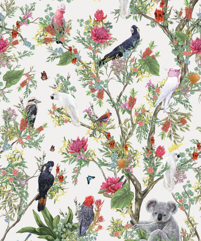 Australia Wallpaper • Cockatoos, Koalas, Parrots, Finches • Milton & King UK • Canvas Wallpaper Swatch