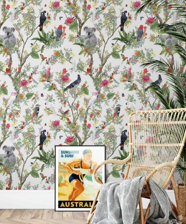 Australia Wallpaper • Cockatoos, Koalas, Parrots, Finches • Milton & King USA • Canvas Wallpaper Insitu