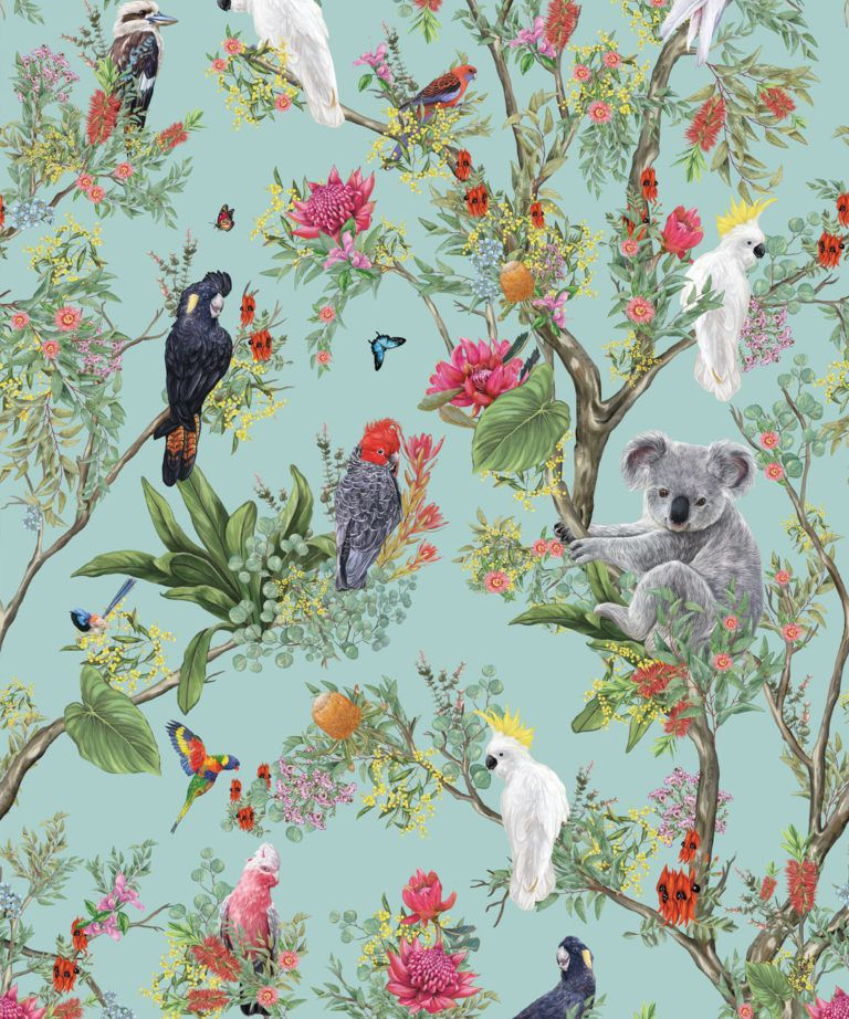 Australia Wallpaper • Cockatoos, Koalas, Parrots, Finches • Milton & King UK • Mint Green Wallpaper Swatch