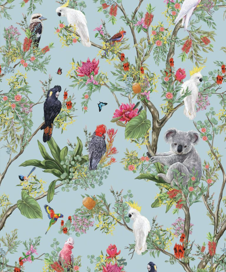 Australia Wallpaper • Cockatoos, Koalas, Parrots, Finches • Milton & King UK • Aqua Wallpaper Swatch