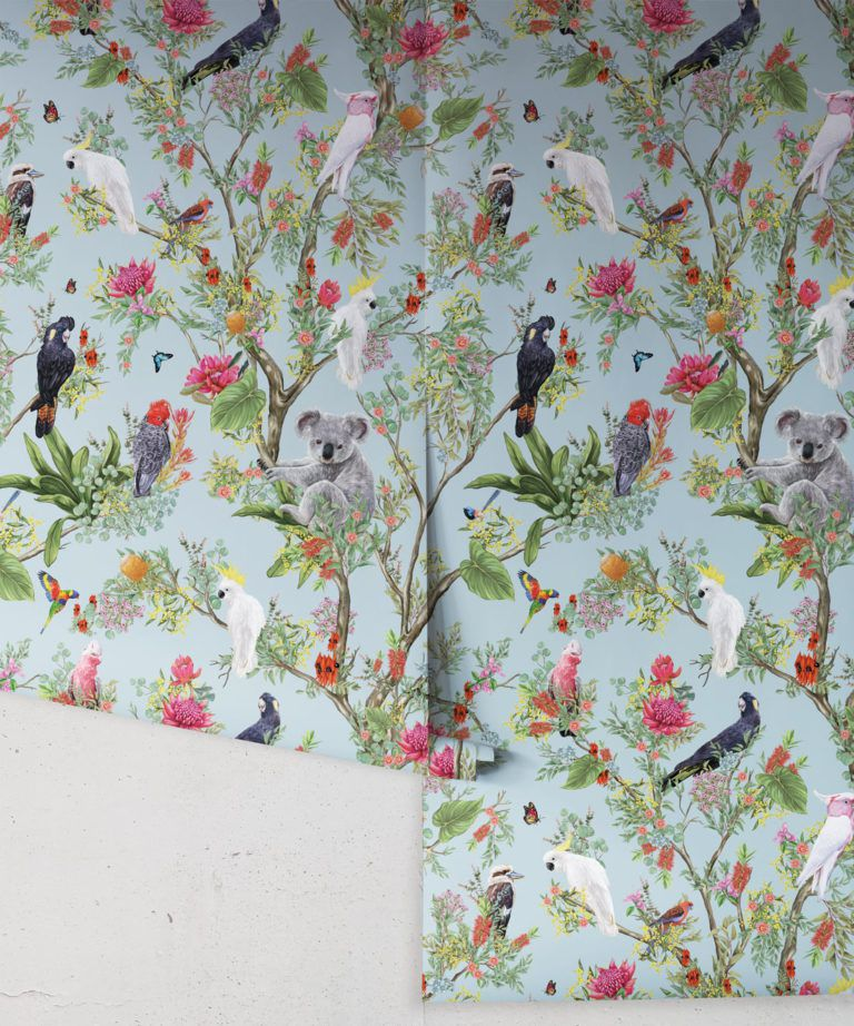 Australia Wallpaper • Cockatoos, Koalas, Parrots, Finches • Milton & King USA • Aqua Wallpaper Roll