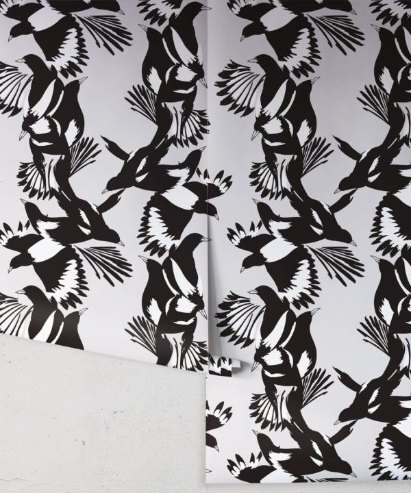 Magpie Wallpaper • Milton & King • Kingdom Home • Bird Wallpaper • Black & White Swatch