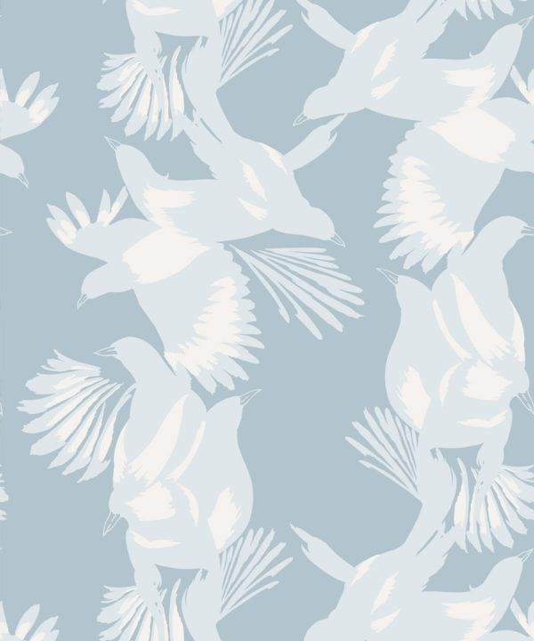 Magpie Wallpaper • Milton & King • Kingdom Home • Bird Wallpaper • Blue Bell Swatch