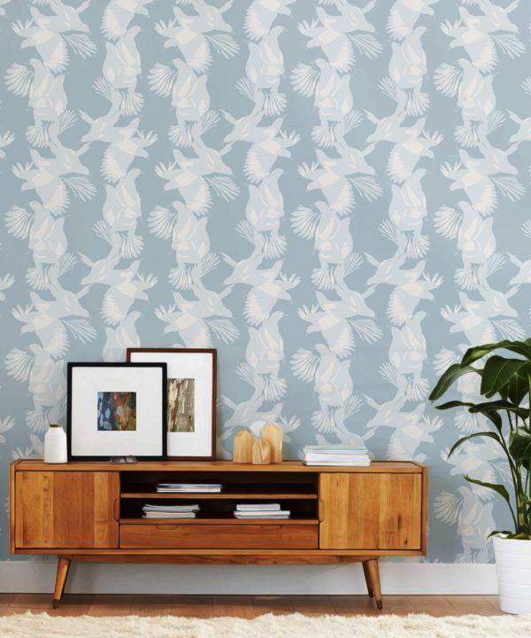 Magpie Wallpaper • Milton & King • Kingdom Home • Bird Wallpaper • Blue Bell Insitu