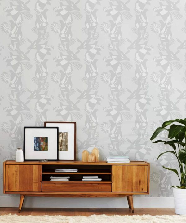 Magpie Wallpaper • Milton & King • Kingdom Home • Bird Wallpaper • Bondi Insitu