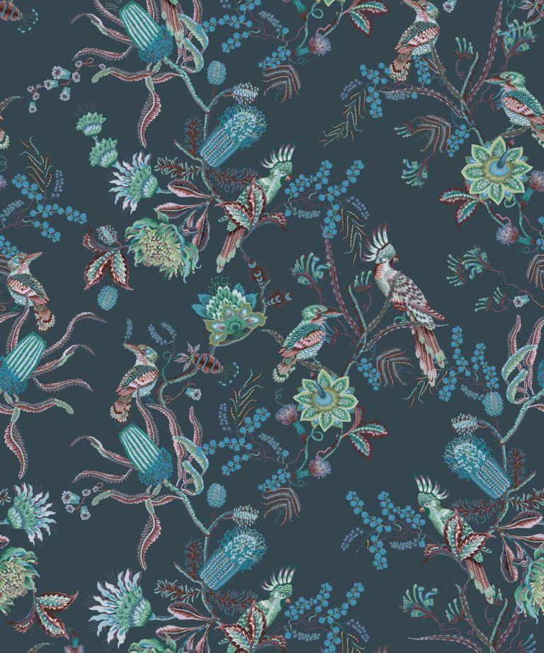 Matilda Wallpaper • Cockatoo, kookaburra • Australian Wallpaper • Milton & King UK • Deep Blue Swatch