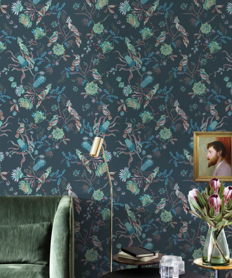 Matilda Wallpaper • Cockatoo, kookaburra • Australian Wallpaper • Milton & King USA • Deep Blue Insitu