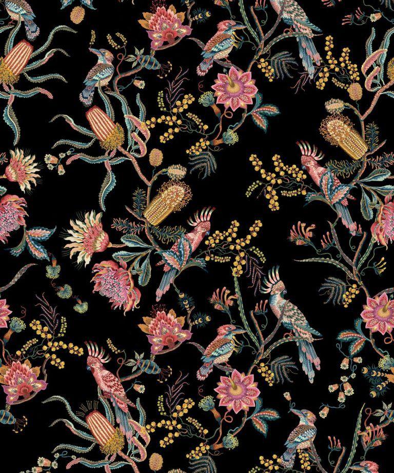 Matilda Wallpaper • Cockatoo, kookaburra • Australian Wallpaper • Milton & King USA • Night Swatch