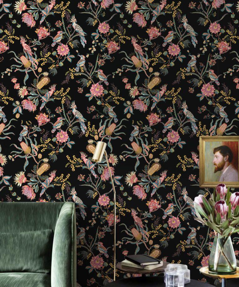 Matilda Wallpaper • Cockatoo, kookaburra • Australian Wallpaper • Milton & King USA • Night Insitu