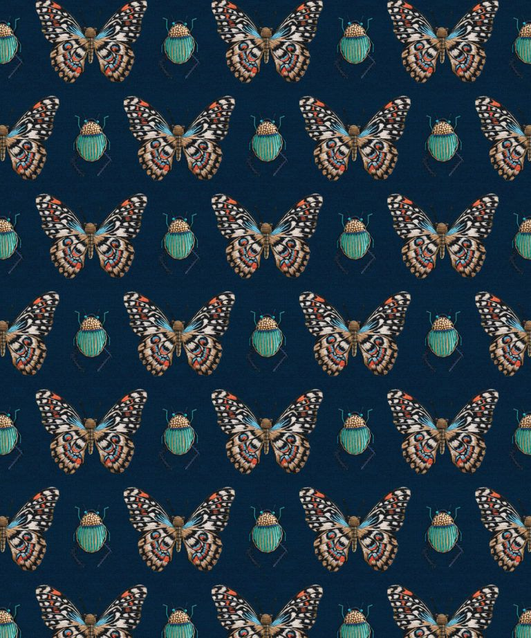 Beetle & Butterfly Wallpaper • Milton & King USA • Swatch
