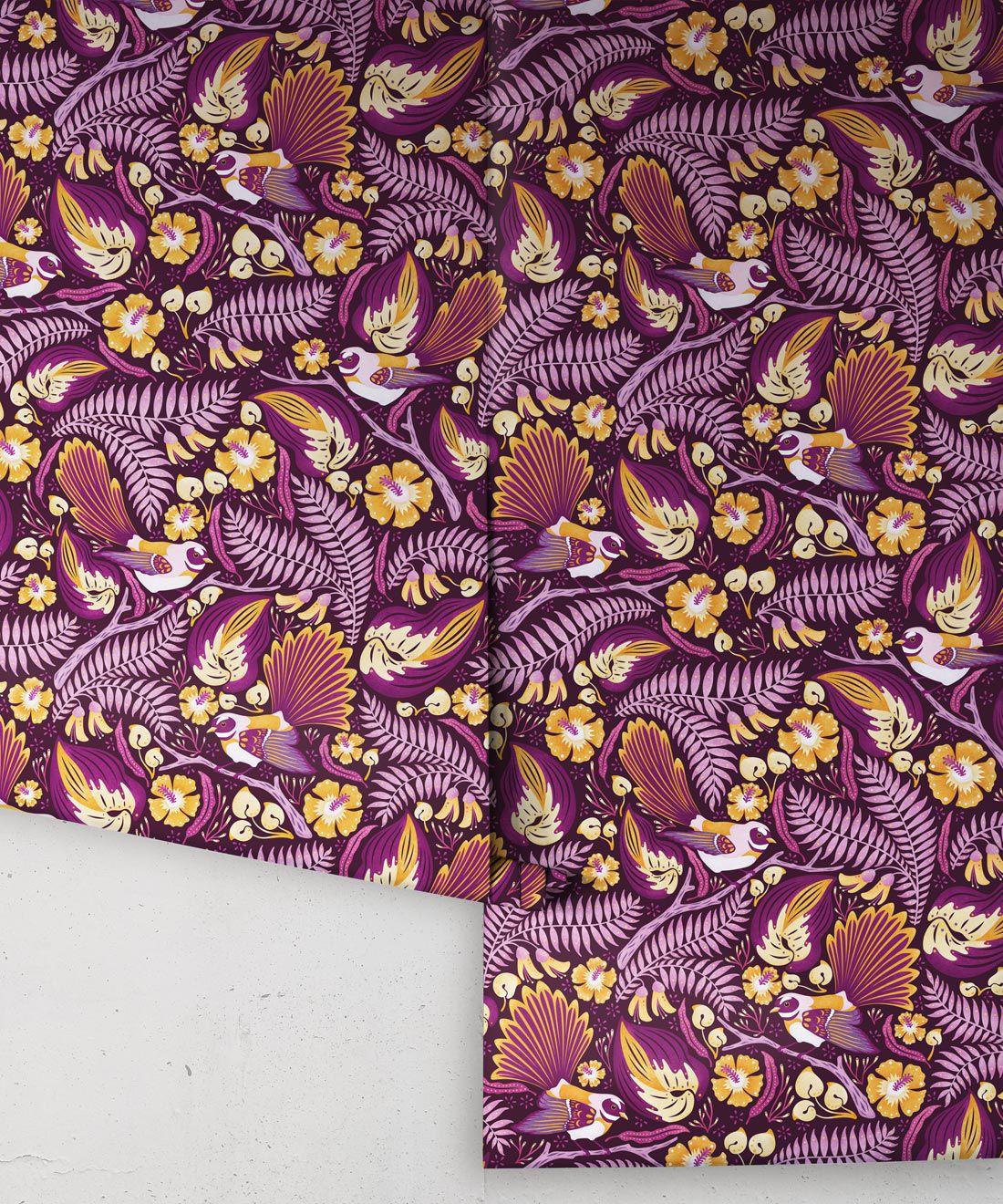 Faintails Wallpaper • New Zealand • Bird Wallpaper • Kowhai Tree • Kowhai Flowers • Purple Wallpaper • Wallpaper Rolls