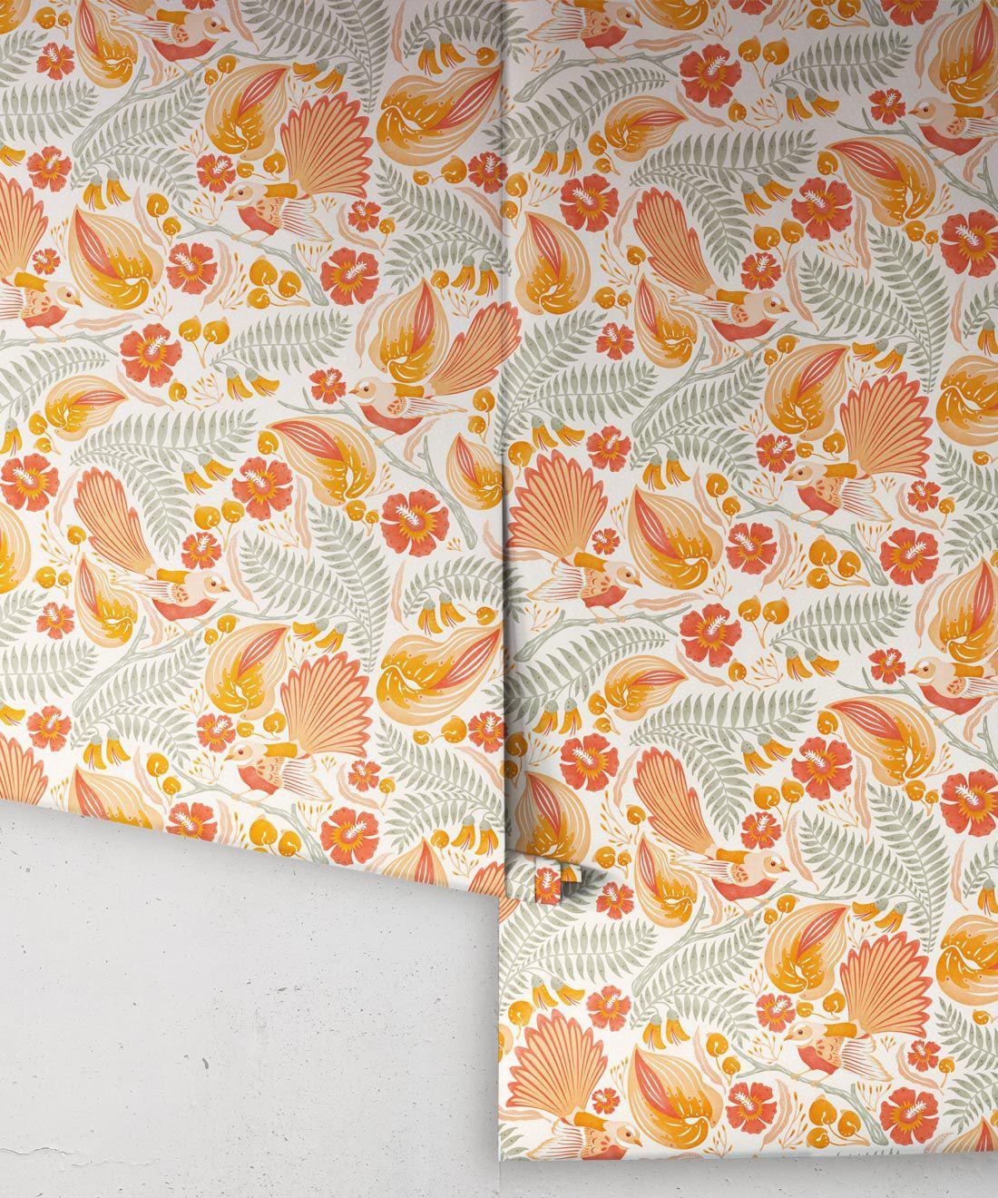 Faintails Wallpaper • New Zealand • Bird Wallpaper • Kowhai Tree • Kowhai Flowers • Orange Wallpaper • Light Colorway • Wallpaper Rolls