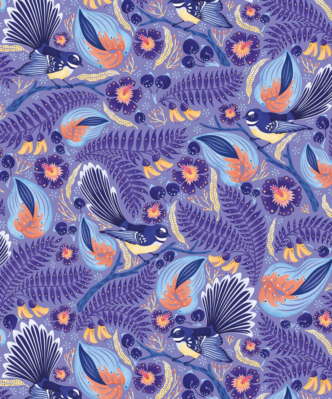 Faintails Wallpaper • New Zealand • Bird Wallpaper • Kowhai Tree • Kowhai Flowers • Blue Purple Wallpaper • Original Colorway