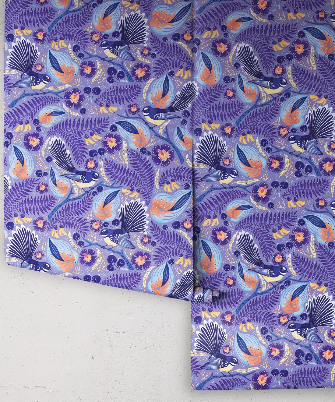 Faintails Wallpaper • New Zealand • Bird Wallpaper • Kowhai Tree • Kowhai Flowers • Blue Purple Wallpaper • Original Colorway • Wallpaper Drops