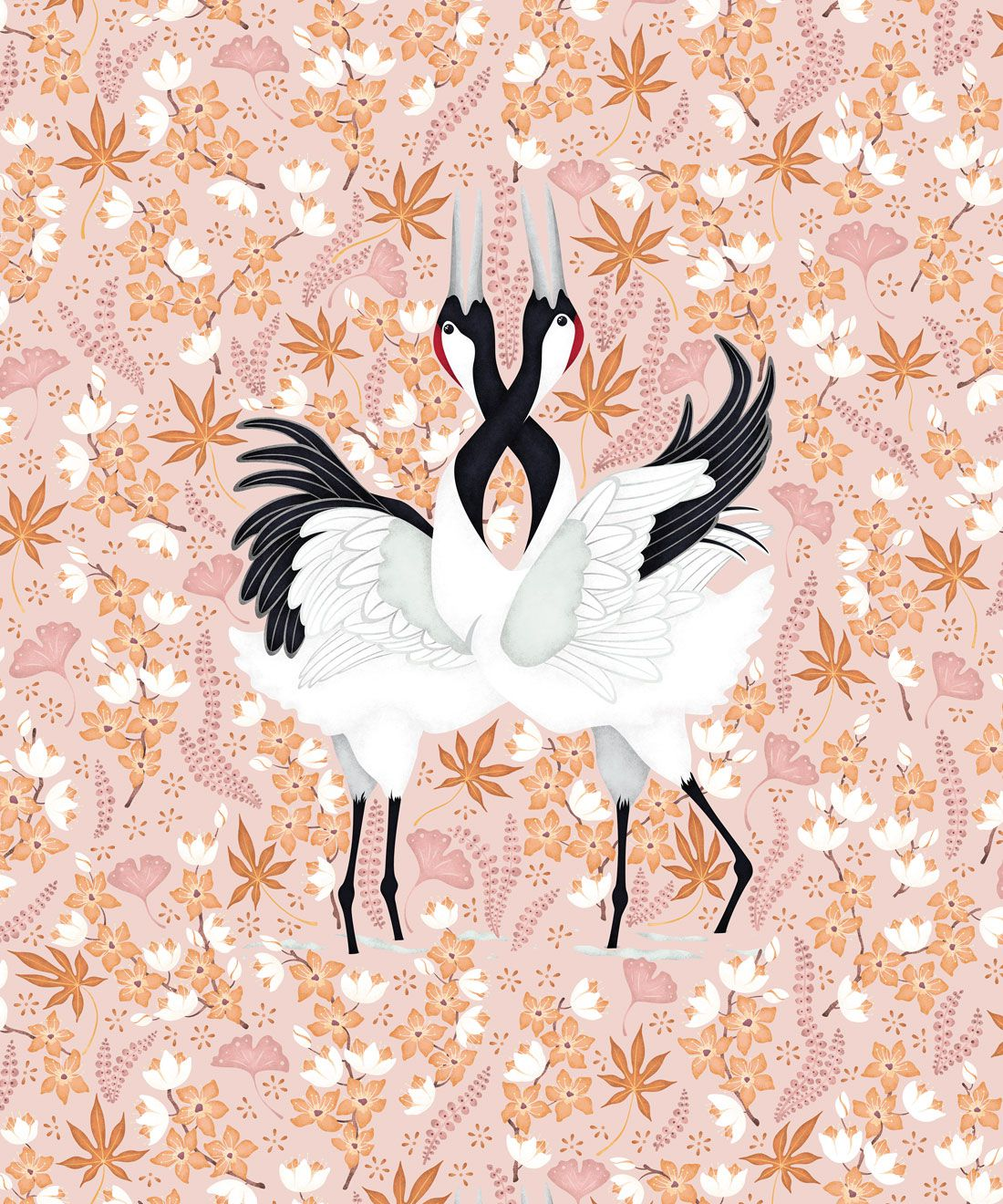 Japanese Cranes Wallpaper • Bird Wallpaper • Pink Wallpaper
