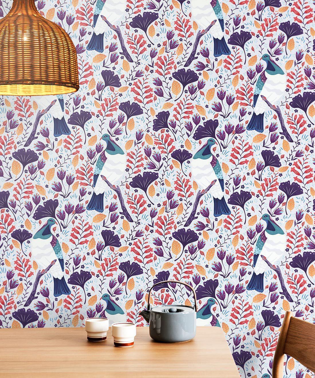 Kereru Wallpaper • Wood Pigeon• Bird Wallpaper •Assorted Color Wallpaper Insitu