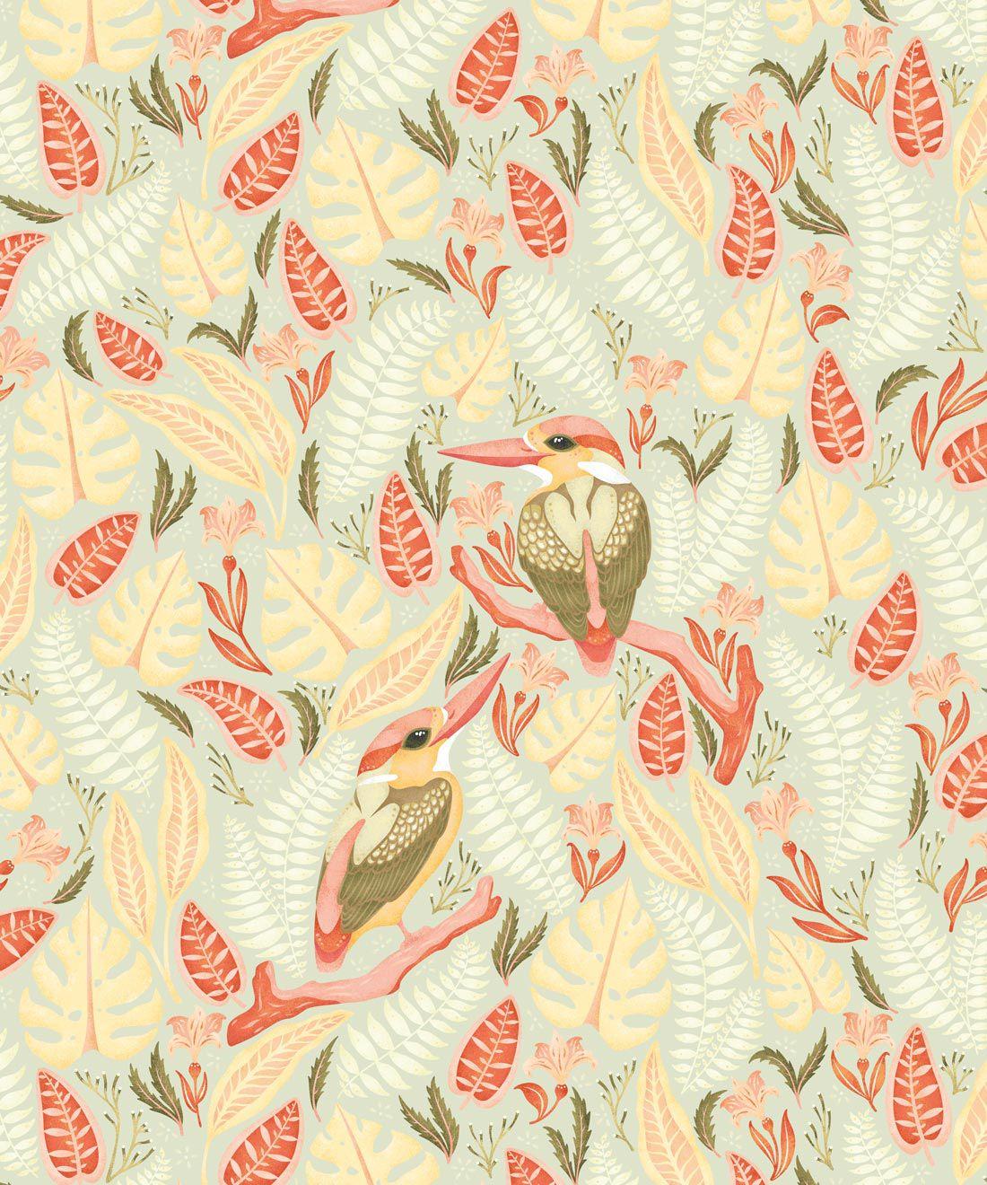 Kingfisher Wallpaper • Bird Wallpaper • Light Pastel Wallpaper
