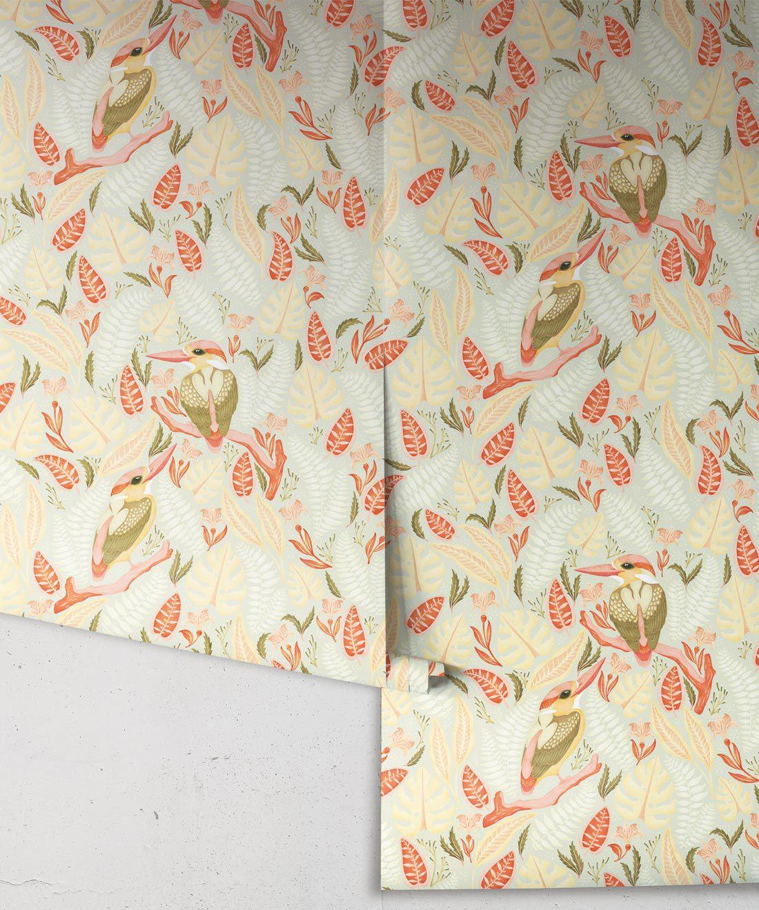 Kingfisher Wallpaper • Bird Wallpaper • Light Pastel Wallpaper Rolls
