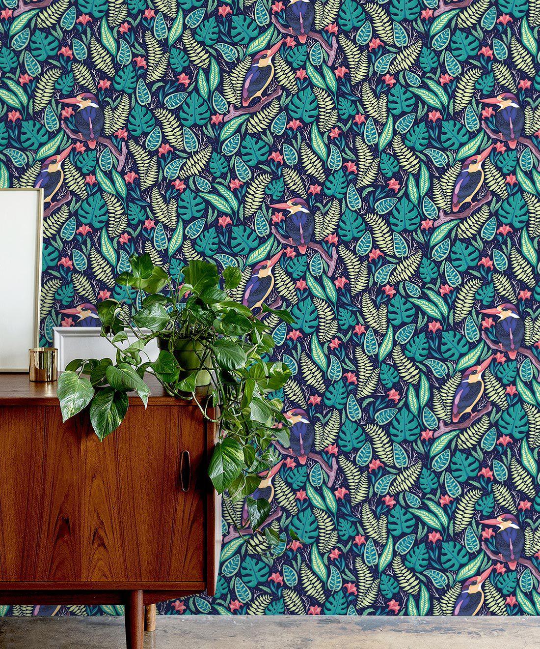 Kingfisher Wallpaper • Bird Wallpaper • Bright Neon Wallpaper Insitu