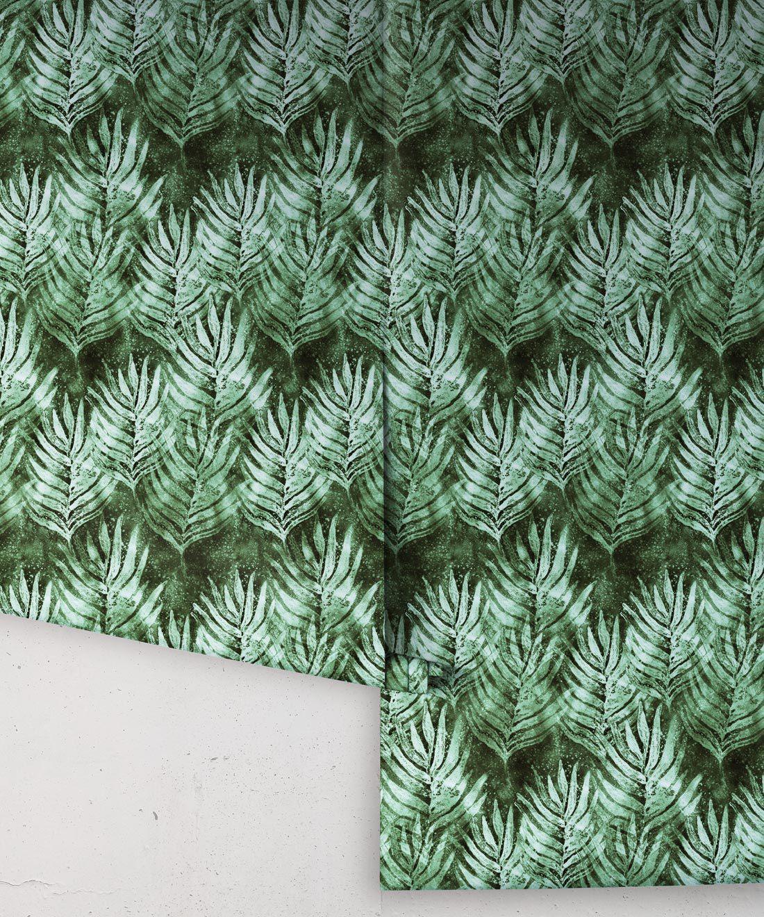 Rainforest Green Shibori Leaf Wallpaper