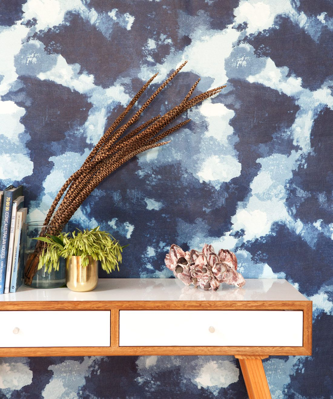 Autumn Path Wallpaper Indigo Blue • Shibori Abstract • Insitu